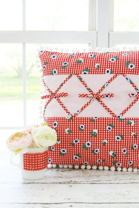 Retro Gingham Pillow by Bev of Flamigo Toes