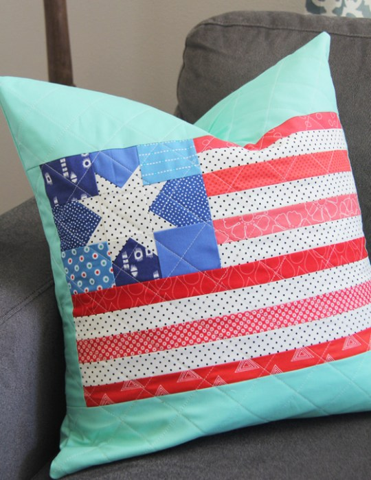US Flag quilted pillow tutorial from Cluck Cluck Sew