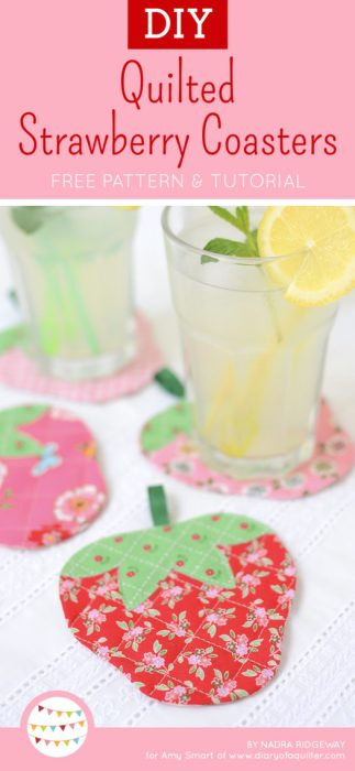 DIY Quilted Strawberry Coaster Free Pattern