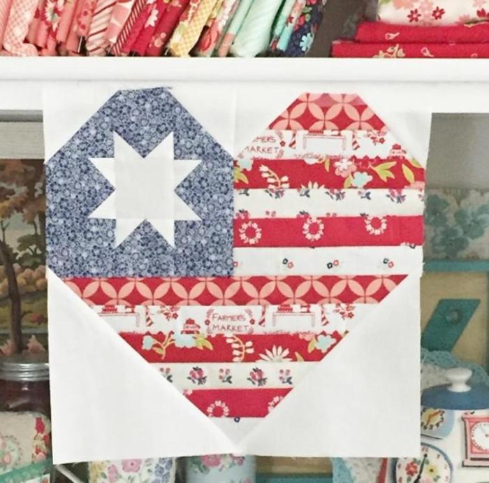 I love America Free Quilt Block Pattern
