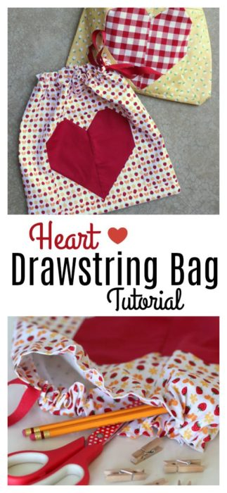 Heart easy lined drawstring bag tutorial