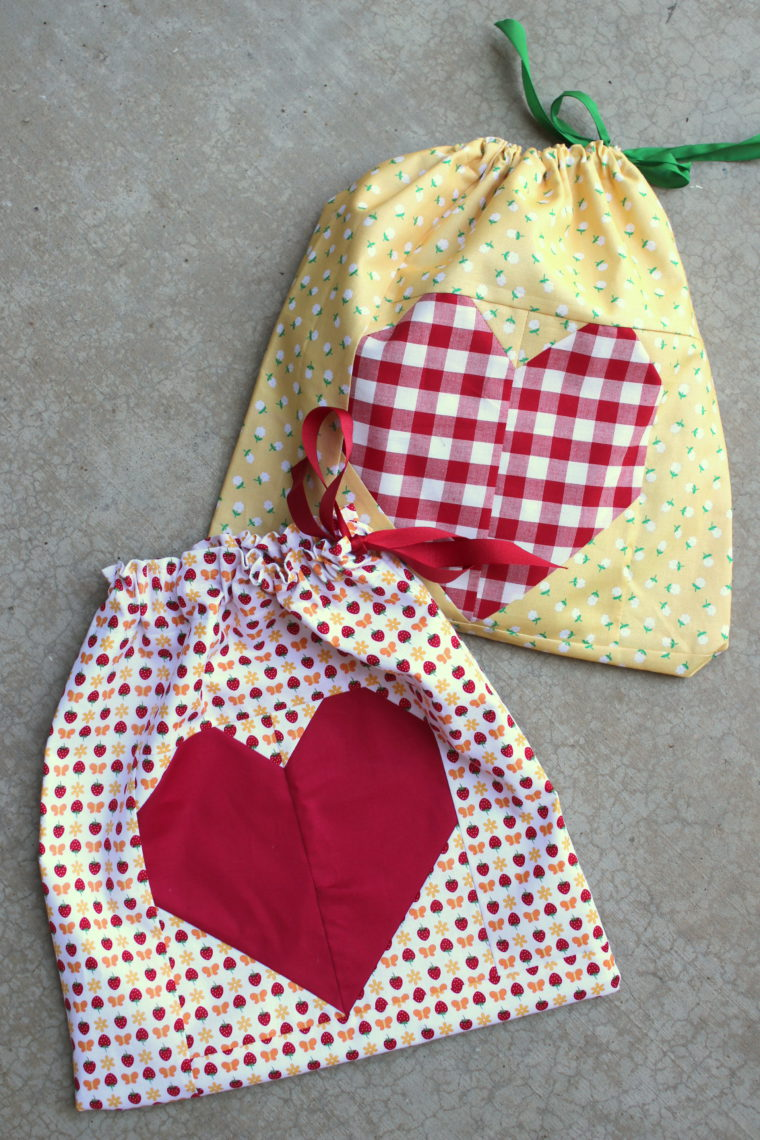 red pink patchwork drawstring pouch