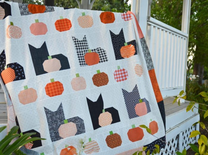Halloween Cat and Pumpkins patchwork quilt from Jedi Craft Girl