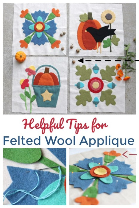 Tips for working with Felted Wool for applique