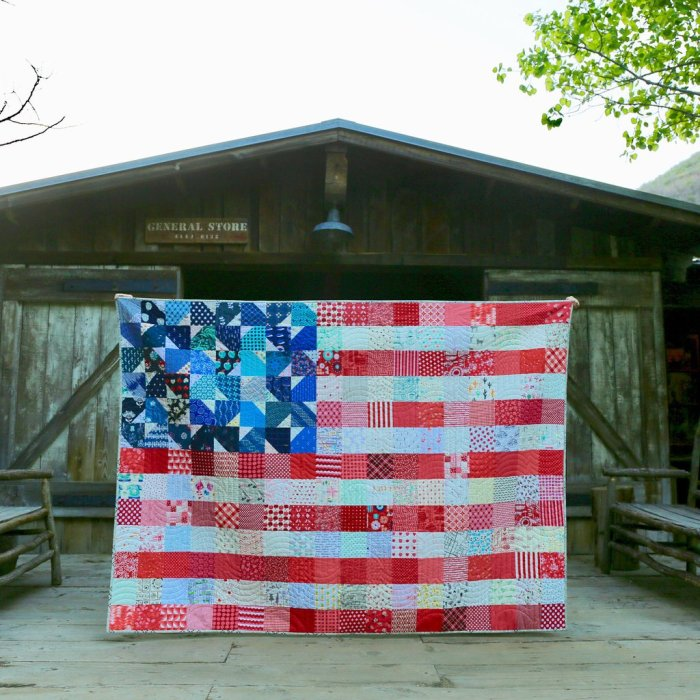Scrappy Yankee Doodle flag quilt by Maker Valley
