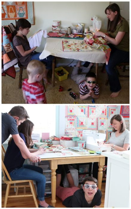 A Year in Review: Looking back at 2019 + Looking forward to 2020 by popular Utah quilting blog: image of a woman sitting at a table and working on a sewing project while her kids play around her.