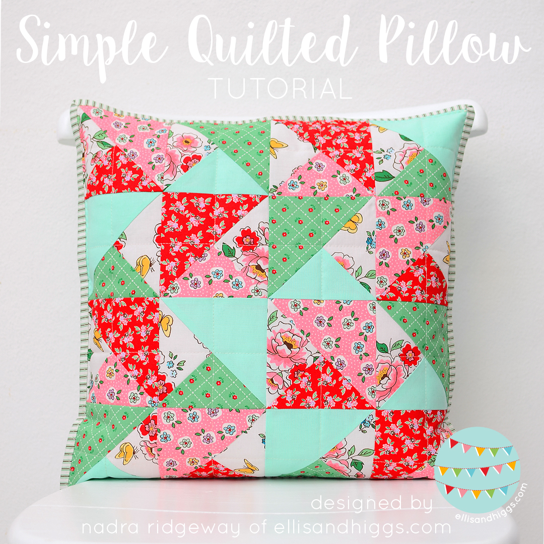 Simple Quilted Pillow Tutorial from Nadra of Ellis & Higgs - Diary of a Quilter - a quilt blog