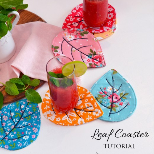 Quilted Leaf Coaster tutorial by Sedef Imer