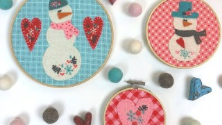 Snowmen and Hearts Embroidery Hoop Art