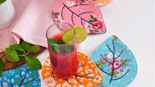 Quilted Leaf Coasters Tutorial by Sedef Imer