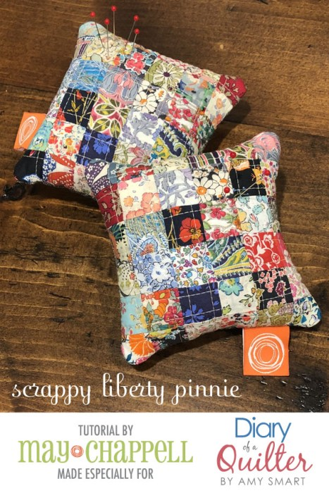 Patchwork Pincushion tutorial made with Liberty Lawns | Scrappy Liberty Patchwork Pincushion by Guest May Chappell by popular quilting blog, Diary of a Quilter: image of two Liberty Lawns patchwork pincushions.