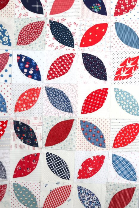 In Search of my Sewing Mojo and Other Tales of Summer by popular sewing blog, Diary of a Quilter: image of a pieced together red, white, and blue block quilt.