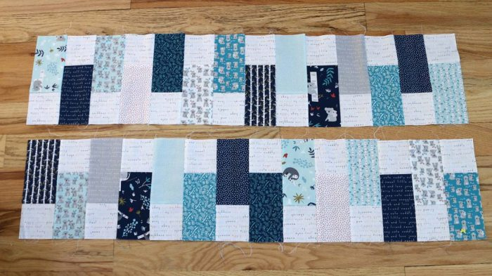Bricks Baby Quilt Tutorial by popular quilting blog Diary of a Quilter: image of two strips of pieced quilting.