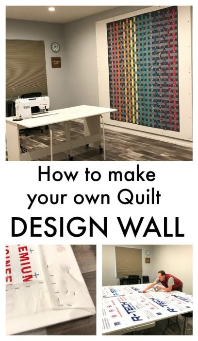 tutorial How to make your own custom Quilt Design Wall | How to Build a Quilt Design Wall by Christa Watson by popular quilting blog, Diary of a Quilter: Pinterest image of a quilt design wall.