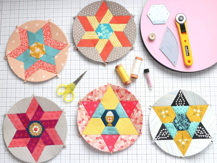More Orange Peel Applique Blocks + Real Life by popular Utah quilting blog: Diary of a Quilter: image of Round We Go English Paper piecing blocks.