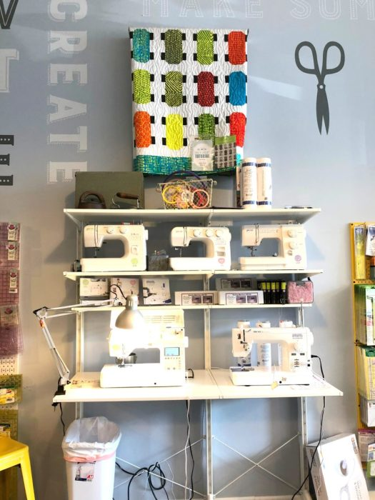 Birthday Bash at Missouri Star Quilt Company by popular quilting blog, Diary of a Quilter: image of sewing machines at Missouri Star Quilt Company.