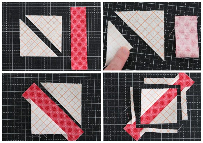 Classic Maple Leaf Quilt Block Tutorial by popular Utah quilting blog, Diary of a Quilter: collage image of maple leaf quilt block making process.
