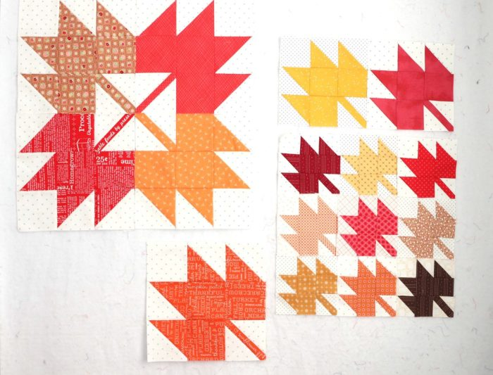 Classic Maple Leaf Quilt Block Tutorial by popular Utah quilting blog, Diary of a Quilter: image of maple leaf quilt block.