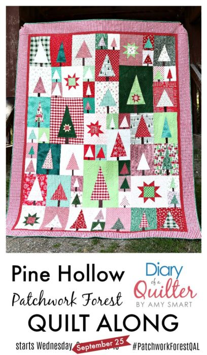 Delayed Pine Hollow Pattern by popular quilting blog, Diary of a Quilter: image of a Pine Hollow patchwork forest quilt.