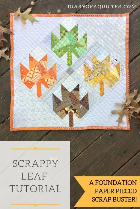 Scrappy Maple Leaf Quilt Pattern Tutorial by guest writer Leila Gardunia by popular quilting blog, Diary of a Quilter: image of a scrappy maple leaf quilt.