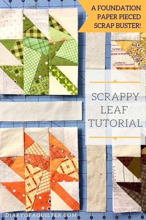 Scrappy Maple Leaf Quilt Pattern Tutorial by guest writer Leila Gardunia by popular quilting blog, Diary of a Quilter: image of scrappy maple leaf quilt blocks.
