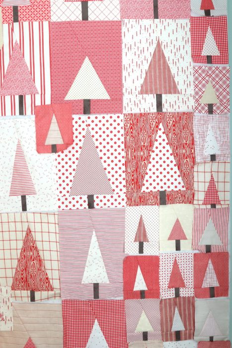 Red and White Improve Tree Quilt blocks | Pine Hollow Patchwork Forest Quilt Along Week 4 by popular Utah quilting blog, Diary of a Quilter: image of red and white improve tree quilt blocks.