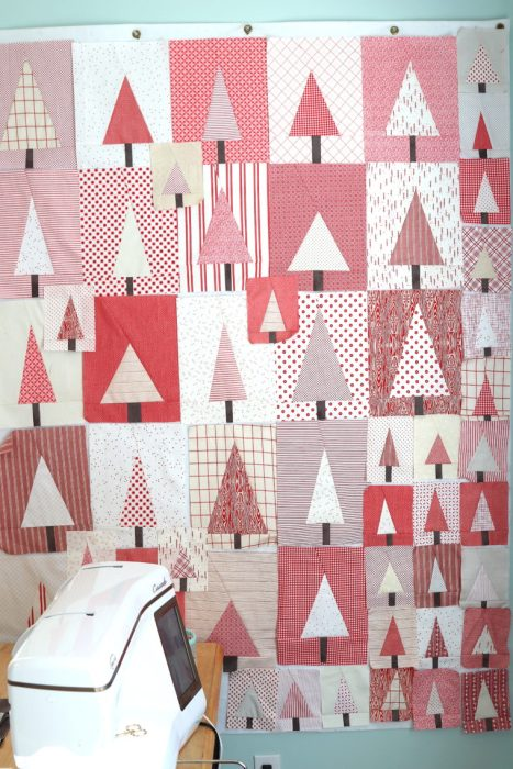 Improv Tree Quilt Blocks | Pine Hollow Patchwork Forest Quilt Along Week 4 by popular Utah quilting blog, Diary of a Quilter: image of red and white improve tree quilt blocks.