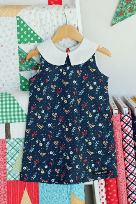Sugarhouse Park Fabric Collection by Amy Smart by popular Utah quilting blog, Diary of a Quilter: image of an A-line sundress made out of Sugarhouse Park fabric.