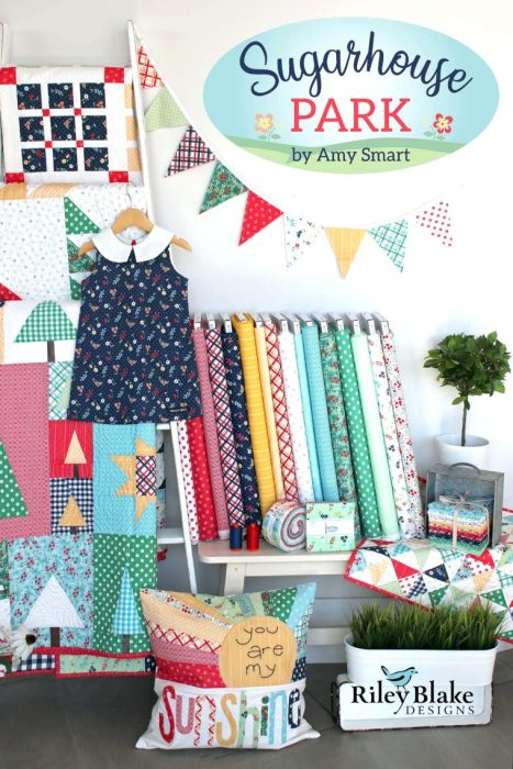 Sugarhouse Park Fabric Collection by Amy Smart by popular Utah quilting blog, Diary of a Quilter: image of bolts of Sugarhouse Park fabric and various items made from Sugarhouse fabric.