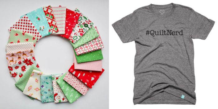 Pine Hollow Patchwork Forest Quilt Along Week 3 by popular quilting blog, Diary of a Quilter: image of fat quarter bundle and #quiltnerd t-shirt.