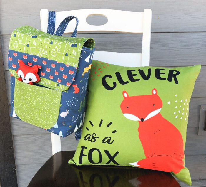 Snow-capped Mountain Quilt Block Tutorial by popular Utah quilting blog, Diary of a Quilter: image of a fabric toddler backpack and a fox pillow.