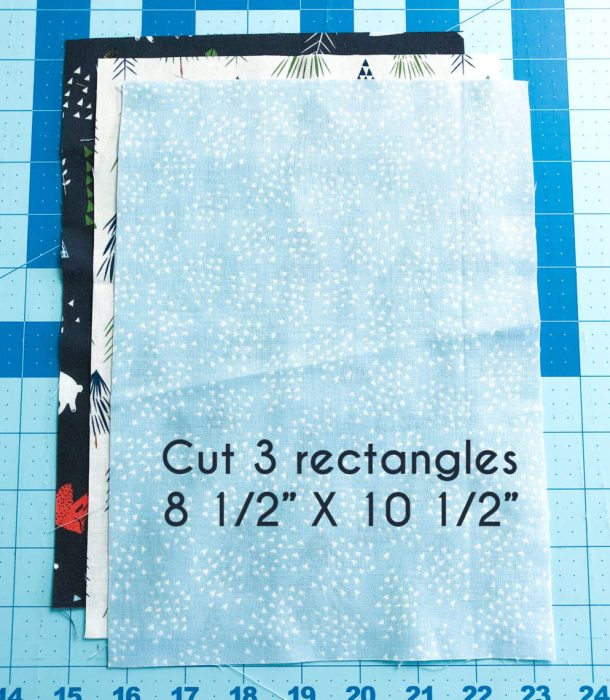 Snow-capped Mountain Quilt Block Tutorial by popular Utah quilting blog, Diary of a Quilter: image of three rectangular pieces of fabric.