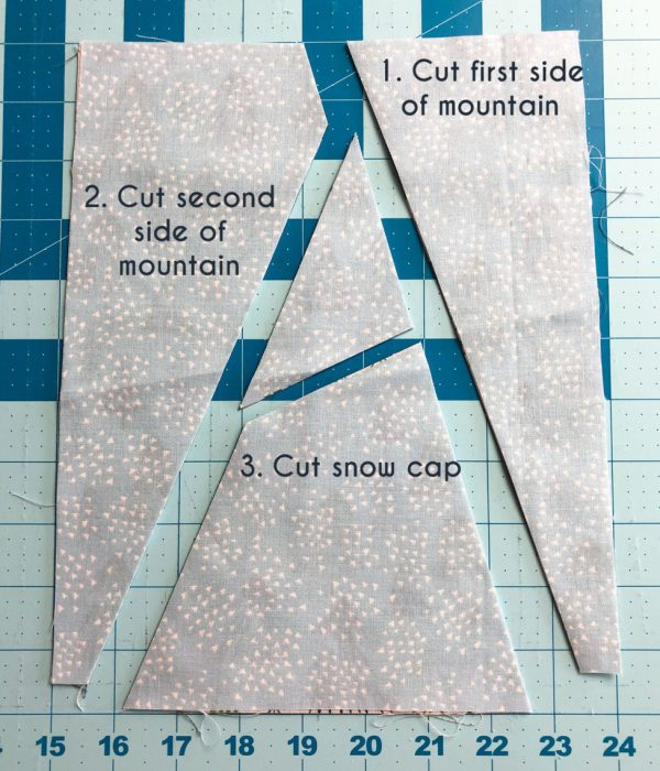 Snow-capped Mountain Quilt Block Tutorial by popular Utah quilting blog, Diary of a Quilter: image of cut up pieces of fabric.