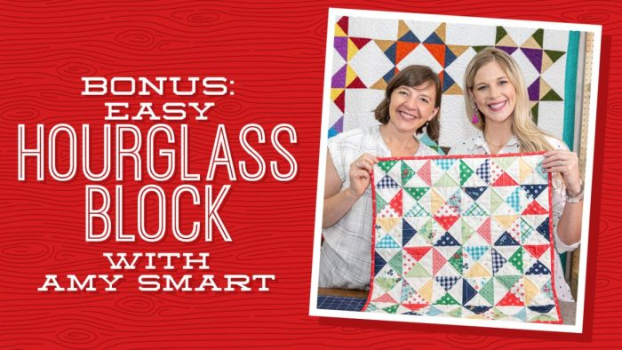 Hourglass Quilt Block Shortcut Video Tutorial by popular Utah quilting blog, Diary of a Quilter: image of two women holding up a quilt with the hourglass quilt block.
