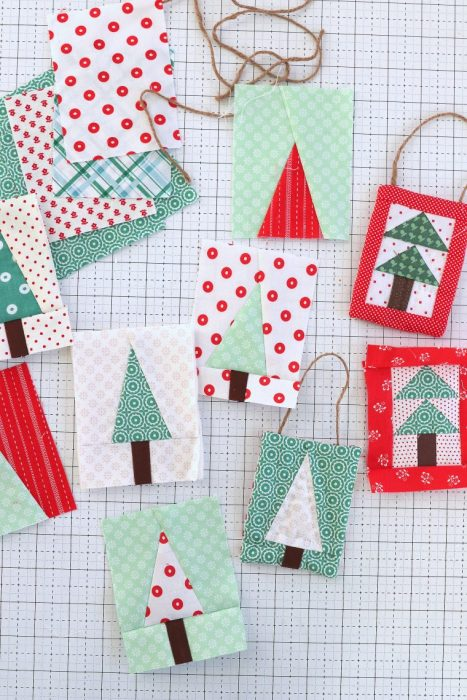 Handmade Christmas Ornament Ideas by popular Utah quilting blog, Diary of a Quilter: image of mini patchwork Christmas tree ornaments.