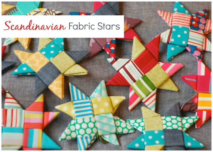 Handmade Christmas Ornament Ideas by popular Utah quilting blog, Diary of a Quilter: image of fabric Scandinavian stars.