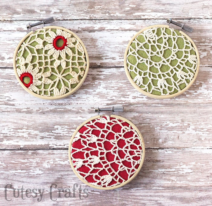 Handmade Christmas Ornament Ideas by popular Utah quilting blog, Diary of a Quilter: image of doily ornaments.