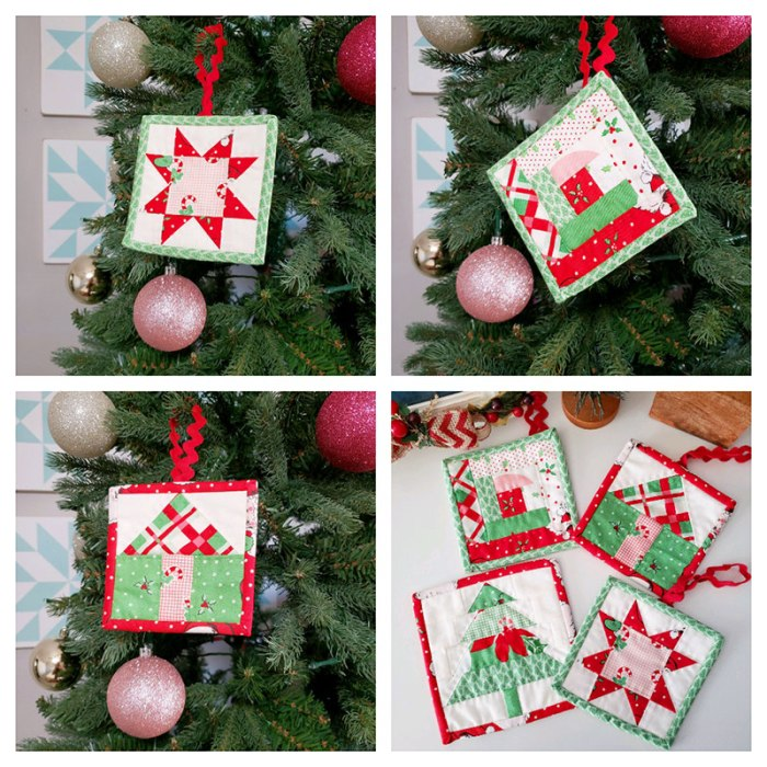 Handmade Christmas Ornament Ideas by popular Utah quilting blog, Diary of a Quilter: image of mini quilt ornaments.