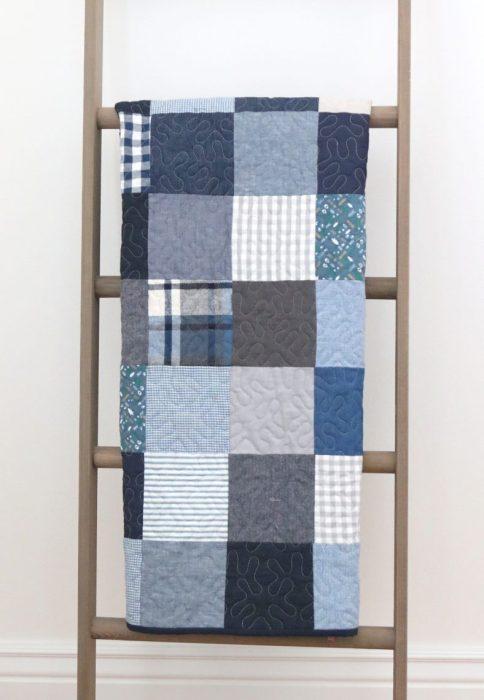 Baby Boy Quilt ideas - Simple Denim and plaid patchwork