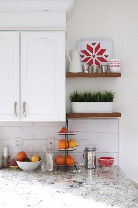 Kitchen Renovation Update - White Subway tile, warm white granite countertops, Simple White paint