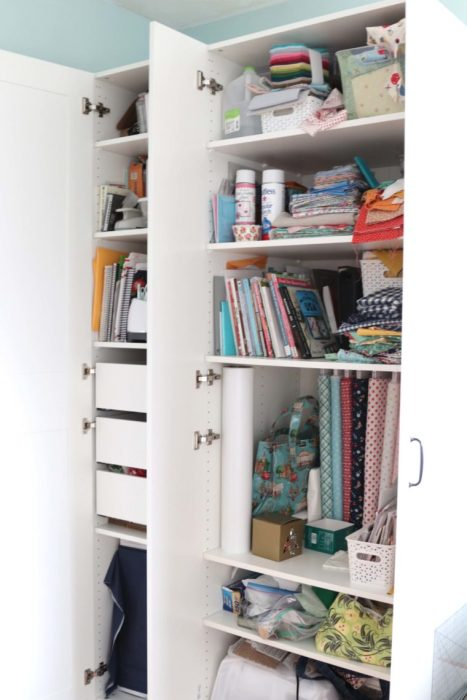 Sewing Room storage solution with customizable Ikea Pax Wardrobe