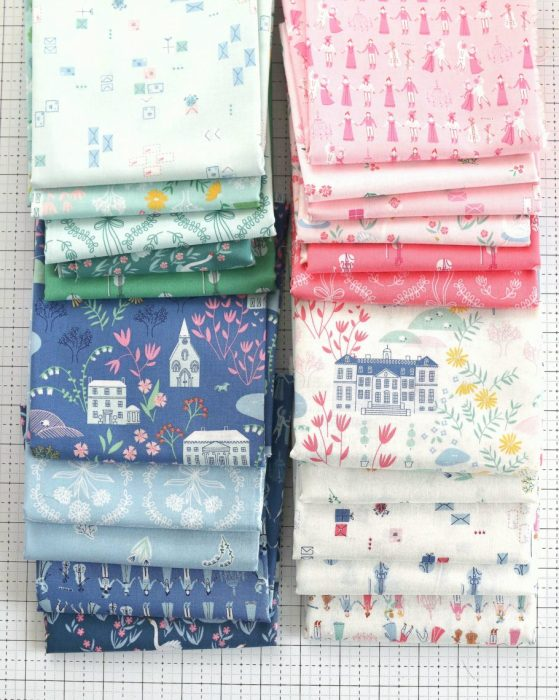 Economy Blocks with Pemberley Fabric, featured by top US quilting blog, Diary of a Quilter: image of stash of Pemberley Fabric