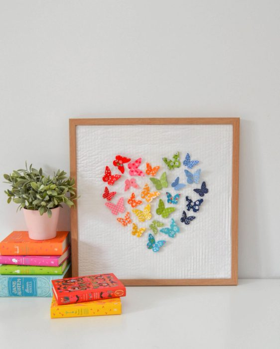 Rainbow 3D fabric butterfly craft wall art tutorial by Sedef Imer for Diary of a Quilter