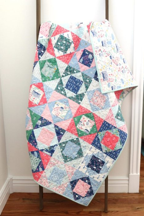 Classic Economy Block Crib Quilt using Pemberley Fabric from Riley Blake