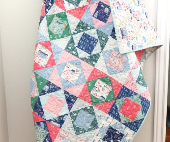 Economy Block Crib quilt using Pemberley Fabrics for Riley Blake