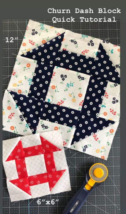 Churn Dash Quilt Block tutorial available in 6 inch and 12 inch sizes