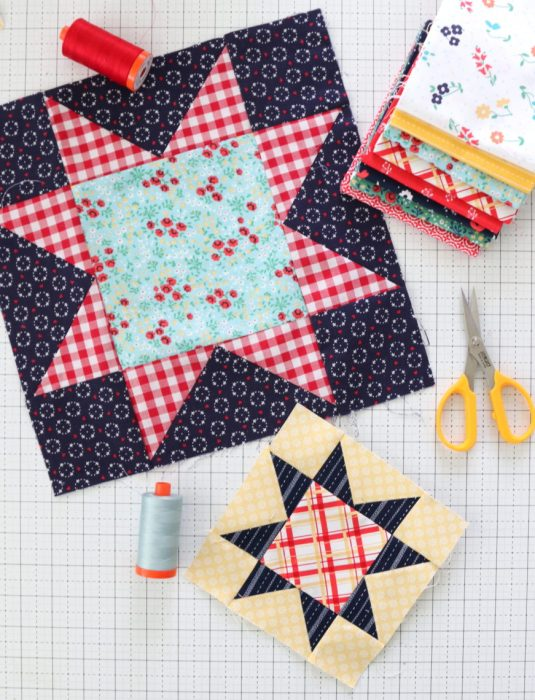 Traditional Sawtooth Star Quilt Block tutorial available in multiple block sizes
