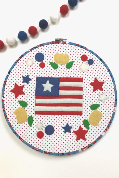 US Flag patriotic Felt Hoop Art design by Amy Chappell