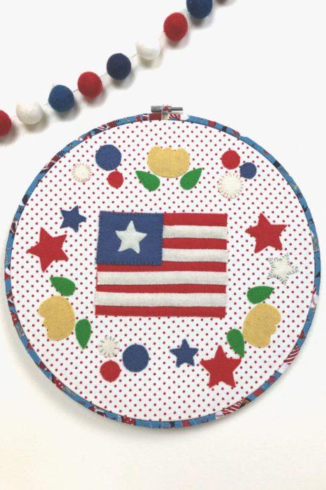 US Flag patriotic Felt Hoop Art design by Amy Chappell