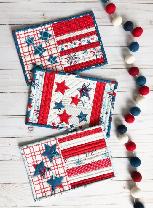 Red, White, and Blue US flag mini quilt patterns
